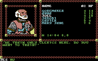 Pool of Radiance Commodore 64 The Cleric Joel is about to attain a higher Level of Experience.