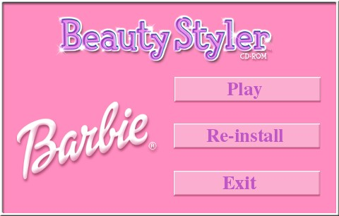 Barbie Beauty Styler Windows The game requires the CD to be in the tray to run. This is the menu that displays when the CD is loaded and recognised. It's followed by a 'Software for Girls' screen