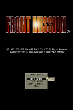 Front Mission Nintendo DS Title screen with main menu.