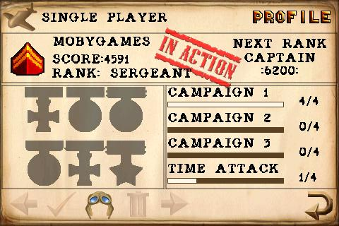 Armageddon Squadron iPhone Player profile / score rank medals