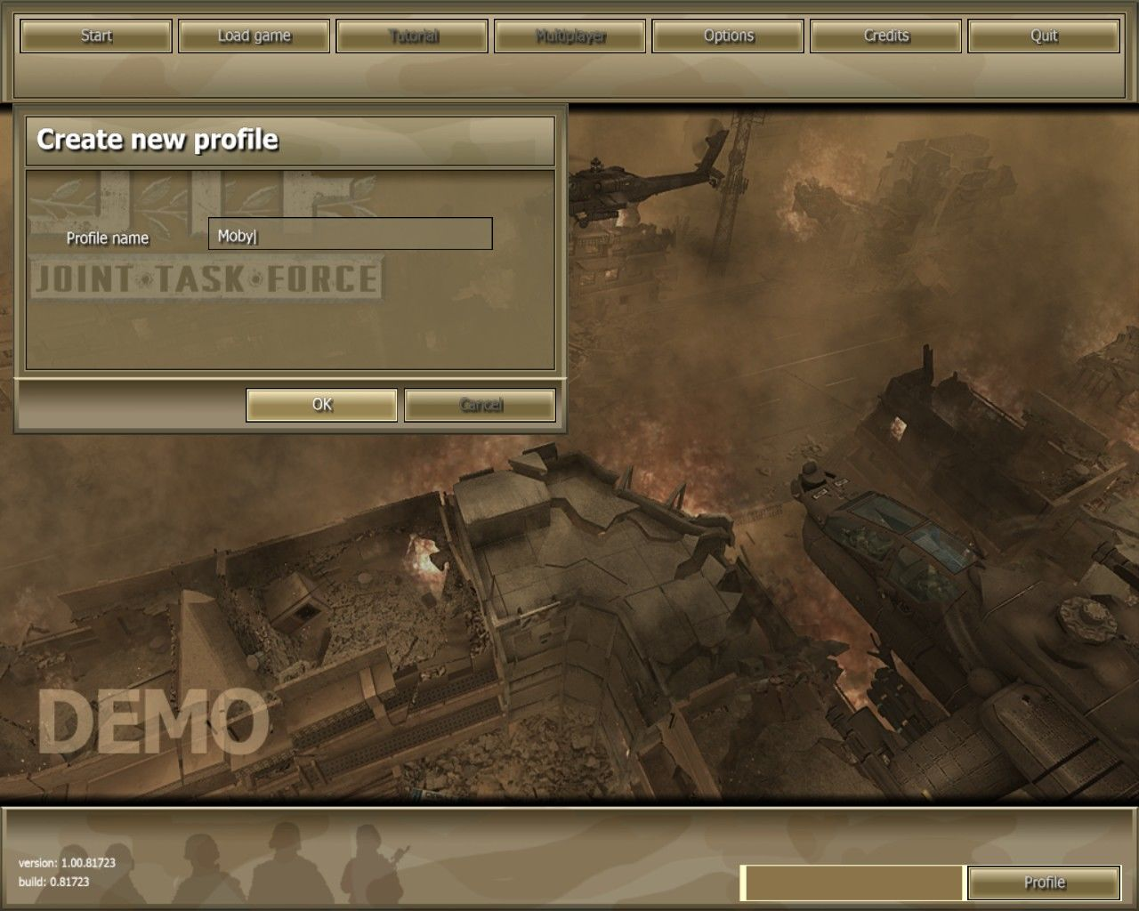 Joint Task Force Windows This is the game's main menu screen - shown here in the single player demo. Prior to reaching this screen a player profile had to be set up