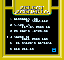 Godzilla 2: War of the Monsters NES Choose your scenerio...  there are 12 missions total