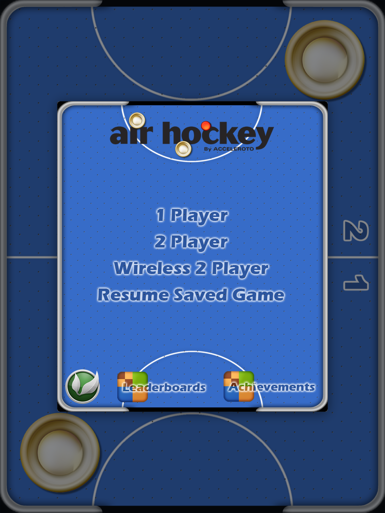 Air Hockey iPad Title screen