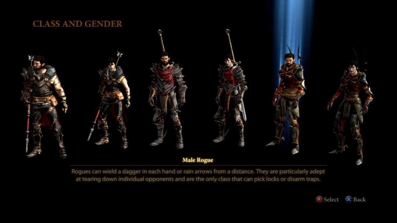 Dragon Age II PlayStation 3 Select your class and gender for the story protagonist.