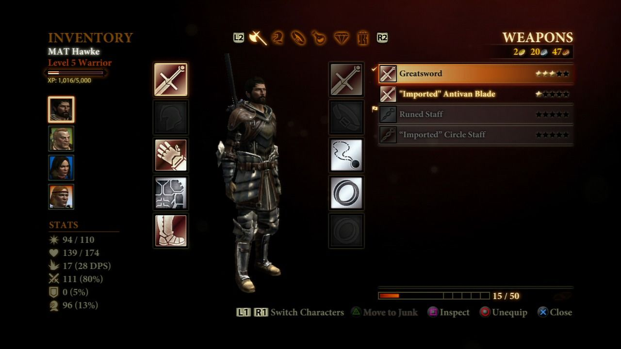 Dragon Age II PlayStation 3 Party inventory screen.