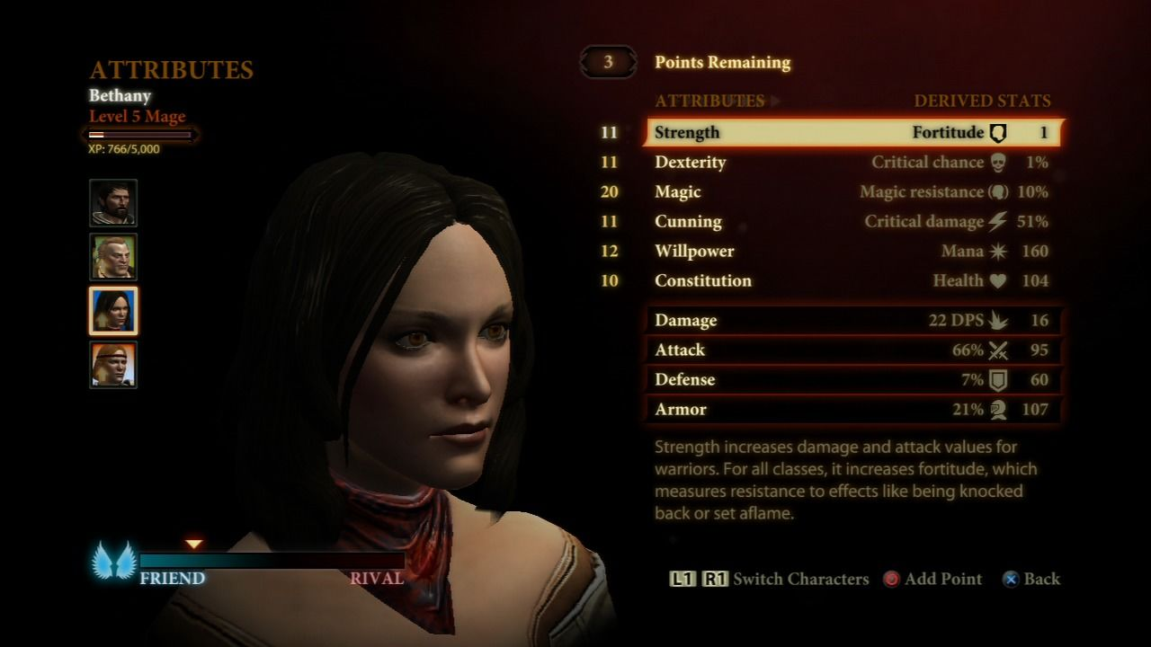 Dragon Age II PlayStation 3 Leveling up the character in your party.