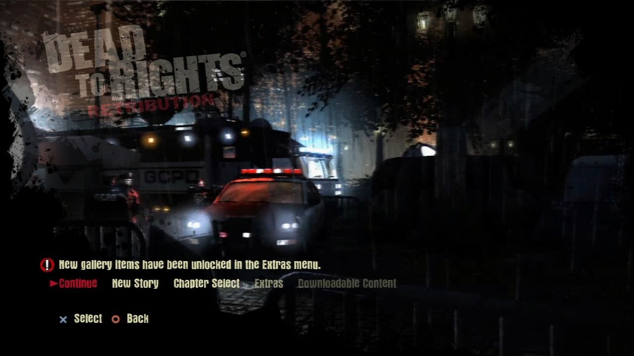Dead to Rights: Retribution PlayStation 3 Main menu.