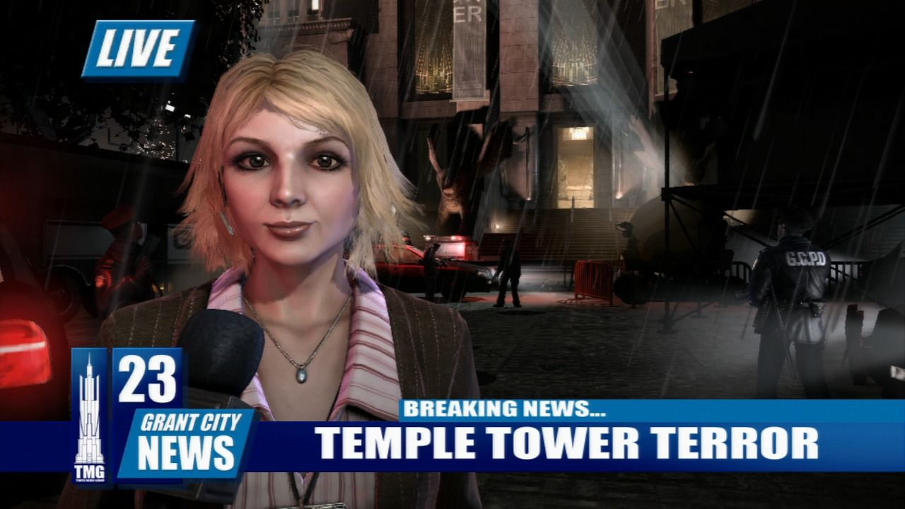 Dead to Rights: Retribution PlayStation 3 Live news at the Temple tower where unknown assailants are holding hostages.