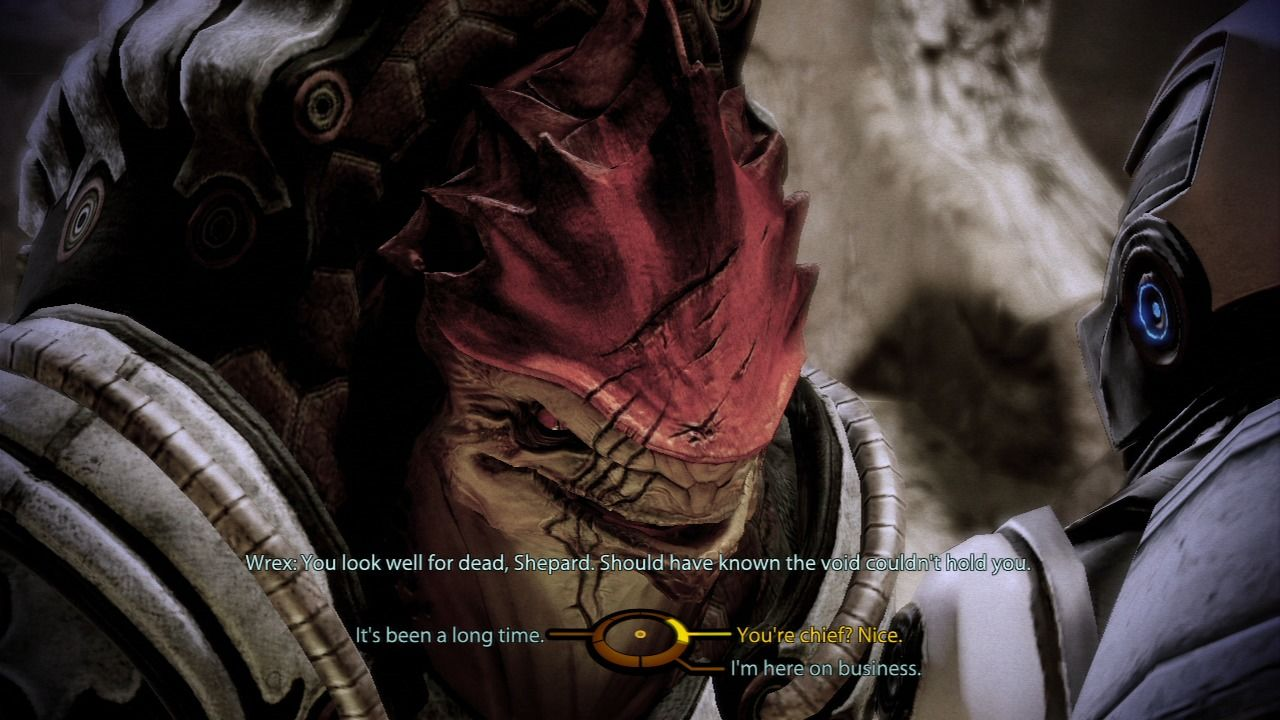 Mass Effect 2 PlayStation 3 Mass Effect 2 - Meeting Wrex, an old party member from the original... that is, if you didn't kill him then