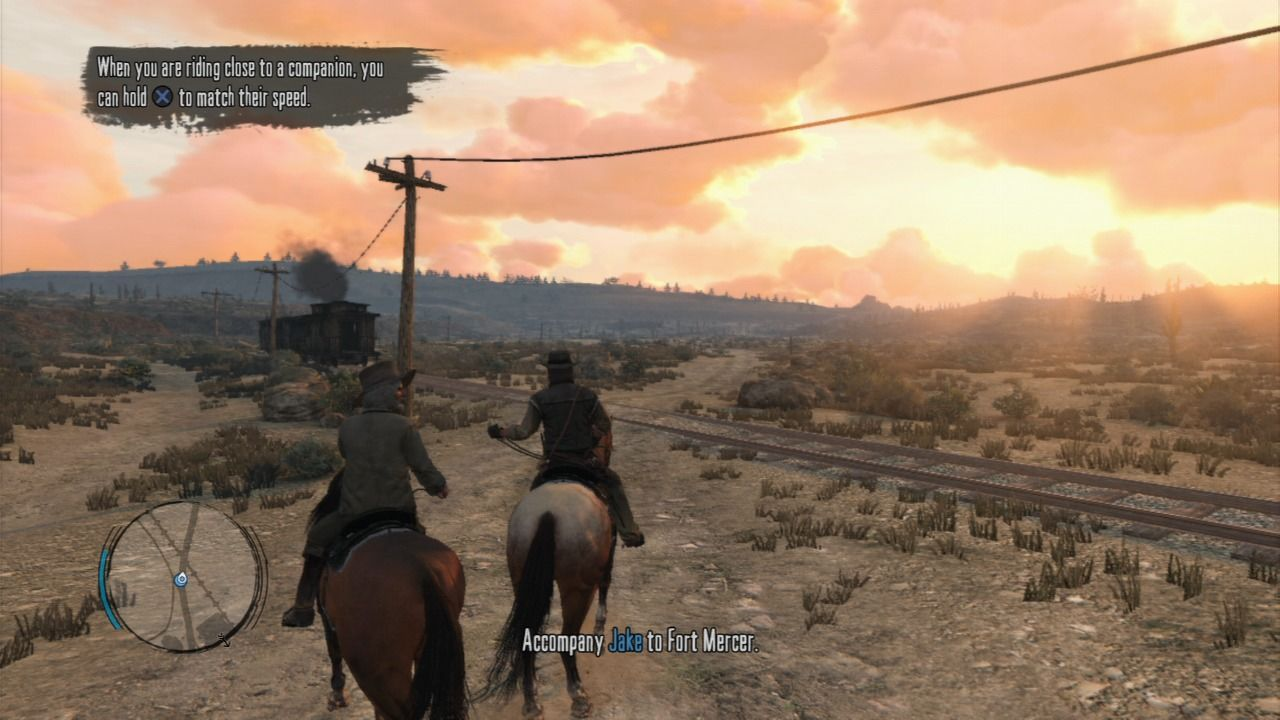 Red Dead Redemption PlayStation 3 Hold X to match the riding speed to that of your companion.
