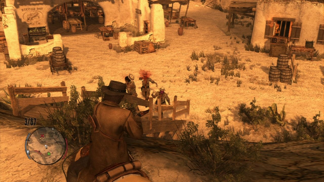 Red Dead Redemption PlayStation 3 During quick-draw aiming you can mark multiple targets and let the end sequence do the rest for you, plus you can also use rifles as well, but they won't be as fast as revolvers.