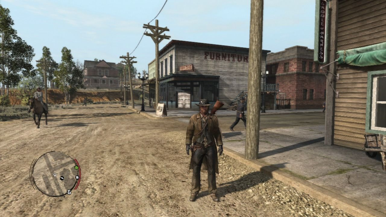 Red Dead Redemption PlayStation 3 Some of the towns are less wild and more futuristic, people will have suits and you'll even get to ride a car, while western parts of the map are still quite wild.