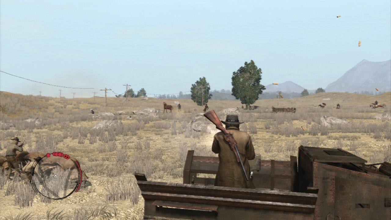 Red Dead Redemption PlayStation 3 Using a mounted gatling gun from a truck against gang of Indians... notice the bullets flying as you constantly fire.