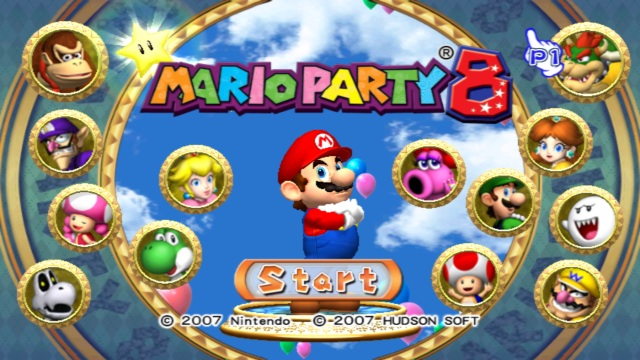 Mario Party 8 Wii Title Screen.