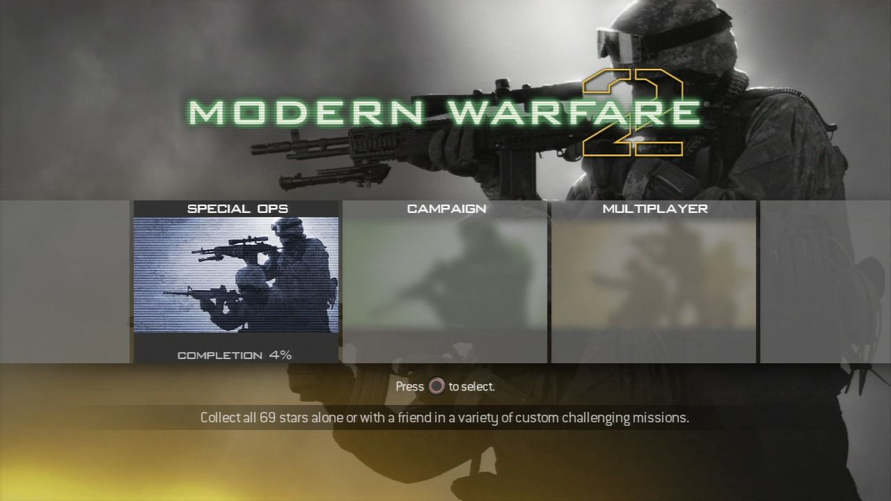 Call of Duty: Modern Warfare 2 PlayStation 3 Main menu.