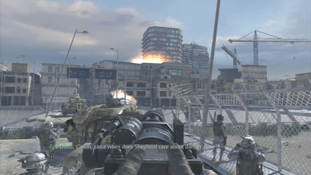Call of Duty: Modern Warfare 2 PlayStation 3 Airstrike took down the entire building full of enemy militia.