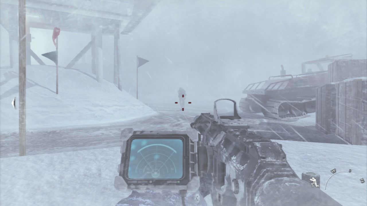 Call of Duty: Modern Warfare 2 PlayStation 3 Use heat detection sensor on your rifle to spot enemy infantry in the snow storm.