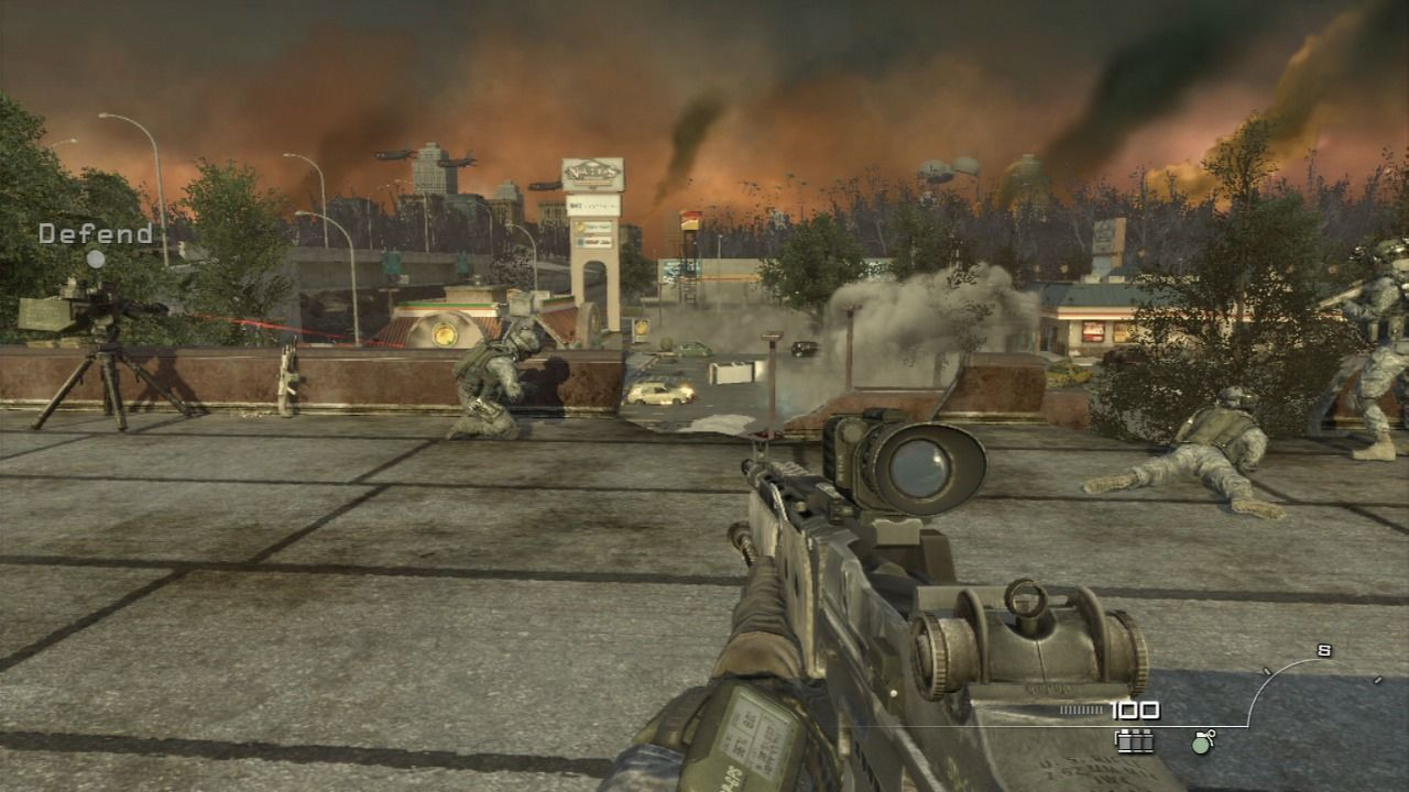 Call of Duty: Modern Warfare 2 PlayStation 3 Defending the roof position on a restaurant against the red army.