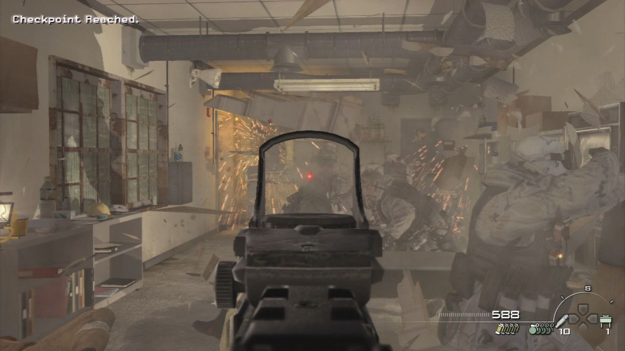Call of Duty: Modern Warfare 2 PlayStation 3 After breaching the door, game will enter slow-motion so you can pick your targets less stressfully.