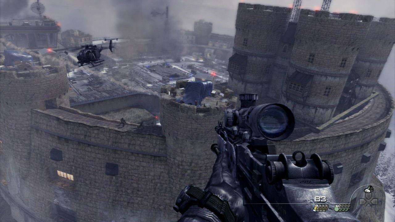 Call of Duty: Modern Warfare 2 PlayStation 3 Using sniper to take out the anti-air defenses from the walls of Gulag.