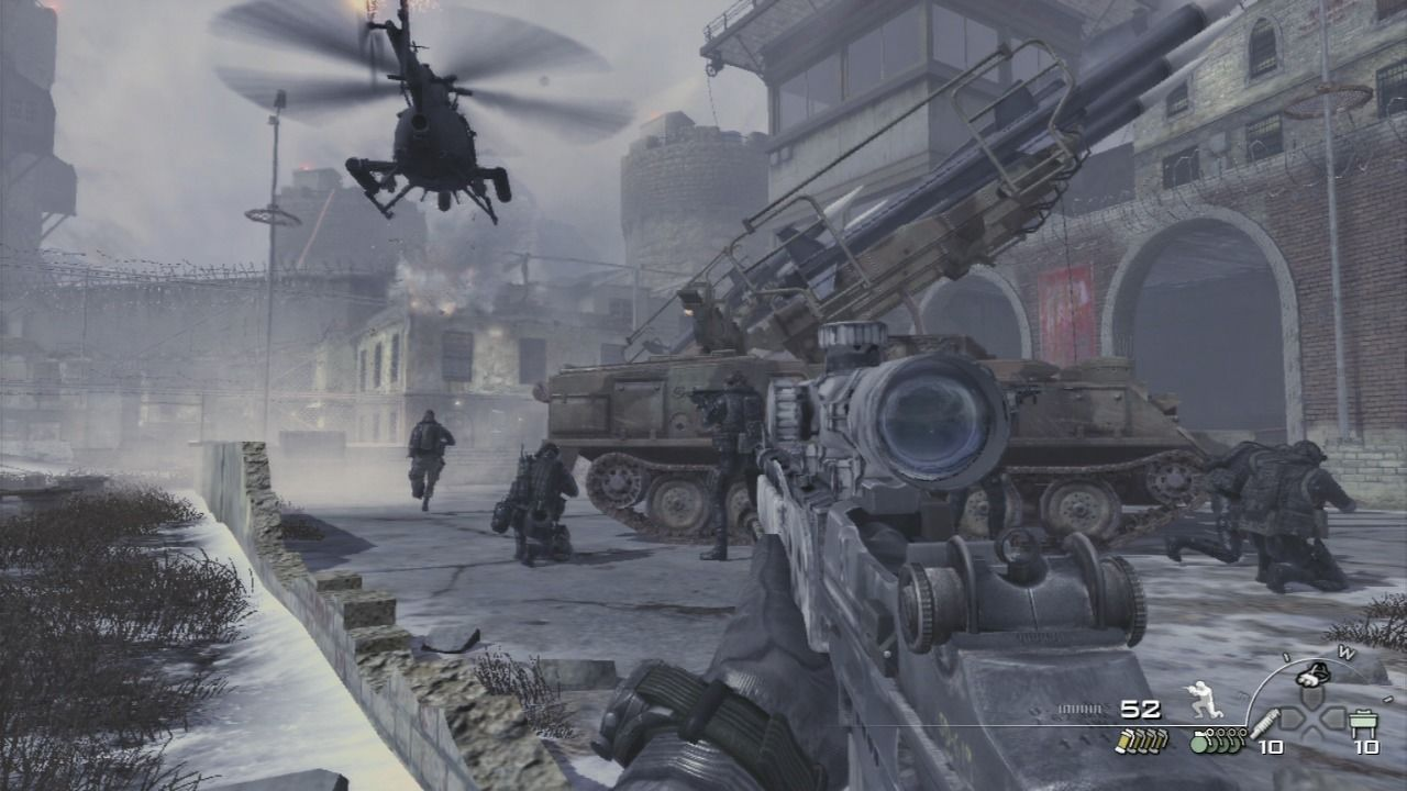 Call of Duty: Modern Warfare 2 PlayStation 3 Friendly helicopter providing ground squad with air support, cleaning the opposite wall.