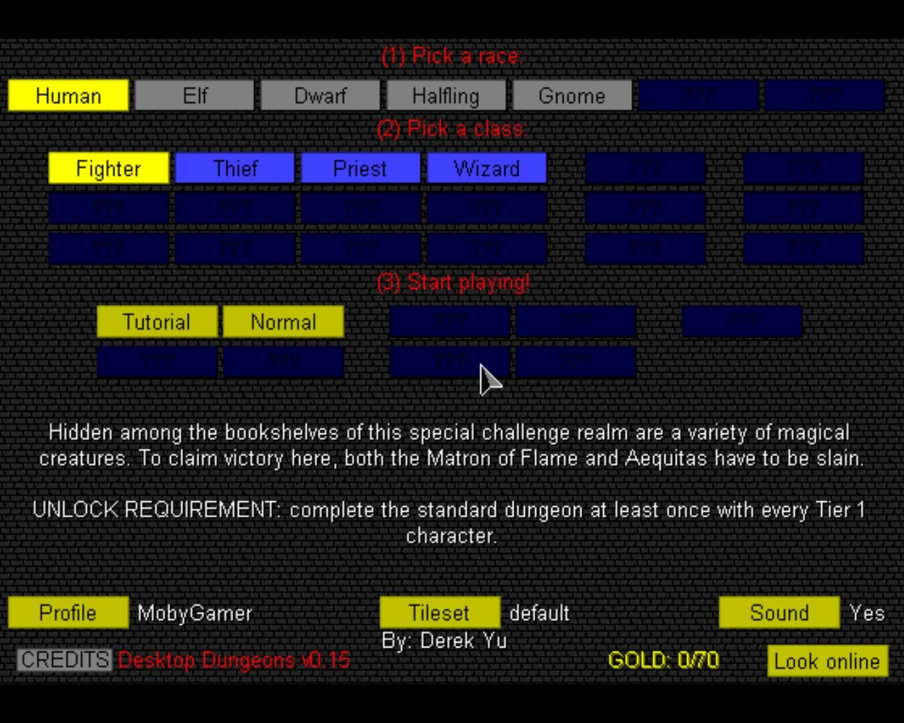 Desktop Dungeons Windows Main Menu - Selecting race, class, and scenario. Completing a scenario may unlock other scenarios, races, classes, and other surprises.