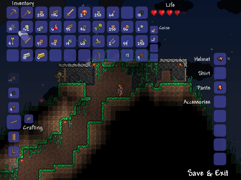 Terraria Windows Inventory and crafting interface