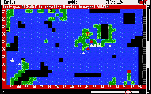 Empire: Wargame of the Century Amiga The Bismarck attacks enemy transport Vulkan.
