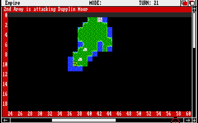 Empire: Wargame of the Century Amiga Attacking a neutral city (shown in green)