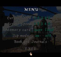 Riven: The Sequel to Myst PlayStation In game menu