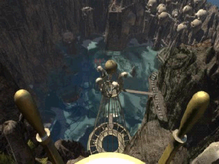 Riven: The Sequel to Myst Windows Mobile View from throne tower looking down on cliff village and village lagoon