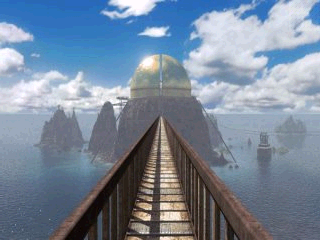 Riven: The Sequel to Myst Windows Mobile Walking iron foot bridge from crater island to temple island - Great Golden Dome in distance