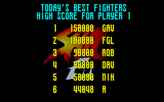 Shaq Fu Amiga Entering a high score.