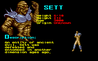 Shaq Fu Amiga Before you start you can see previous of the enemies you'll face.