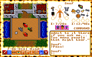 Ultima VI: The False Prophet Amiga Crossing the drawbridge on the way back to the Castle of Lord British.
