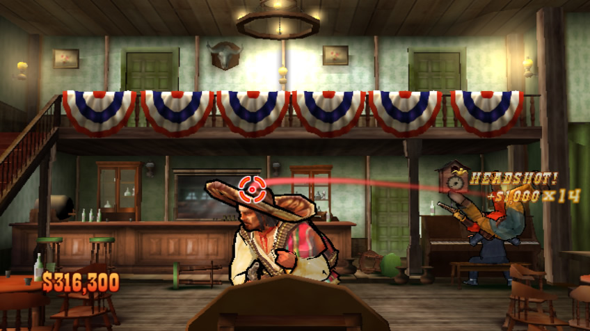Wild West Guns Wii There are bandits in the saloon. Just don't shoot the pianist.