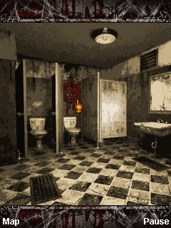 Silent Hill: Orphan J2ME The bathroom. Examine the symbol on the wall to go to the bloody version of the world.