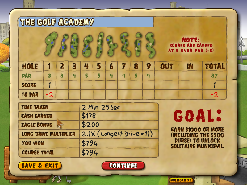 Fairway Solitaire Windows My scorecard. Hole one was two under par and my score so far is 1.