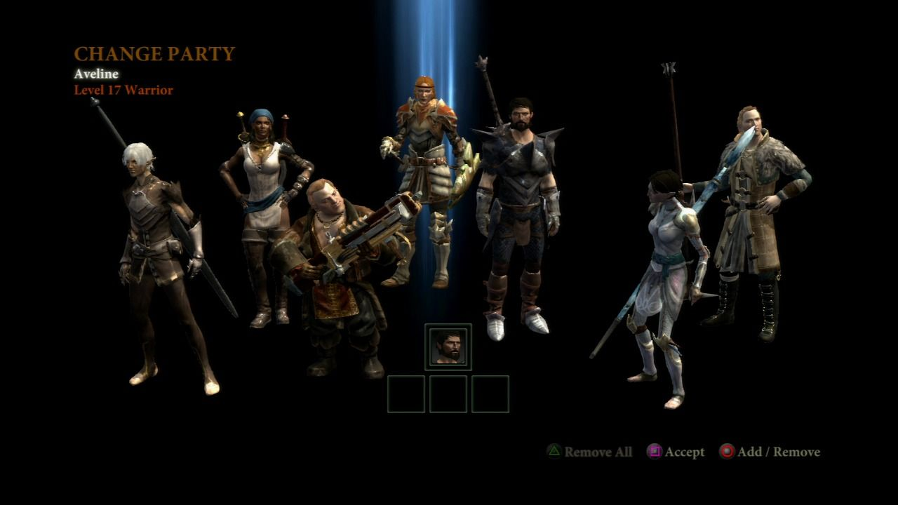 Dragon Age II PlayStation 3 Your party will have only those characters you accepted and are still alive.