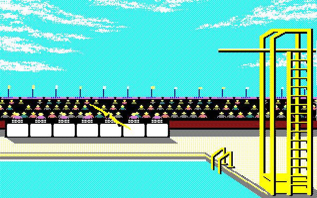 Summer Games PC-88 You know, I can't jump so well because I'm not sure that this black pixel is really my underwear