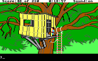 King's Quest III: To Heir is Human DOS Friendly tree house or evil bandit's lair? You must find out. (EGA/Tandy)