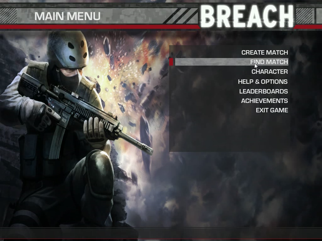 Breach Windows Main menu