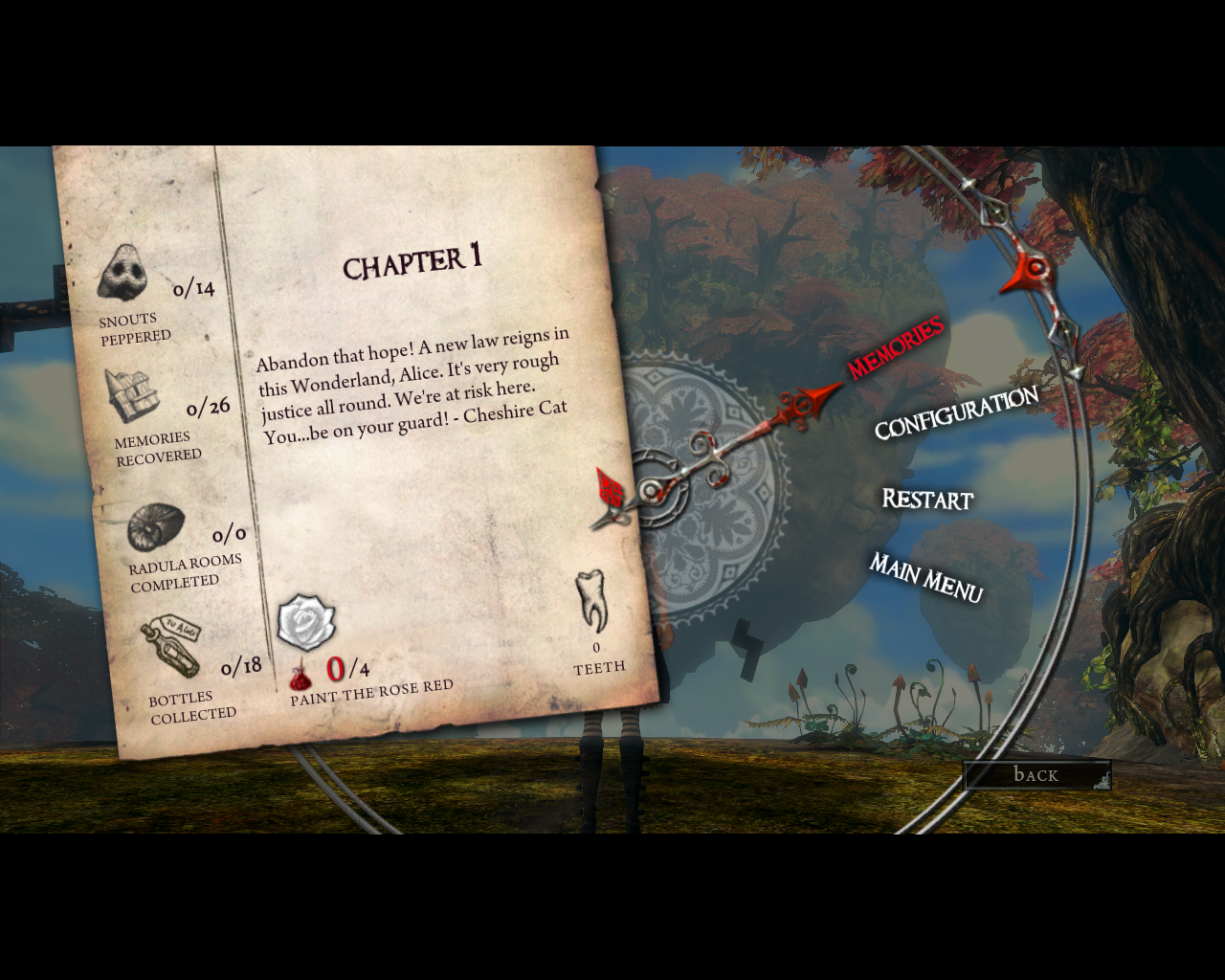 Alice: Madness Returns Windows Pause menu will tell you everything you need to know