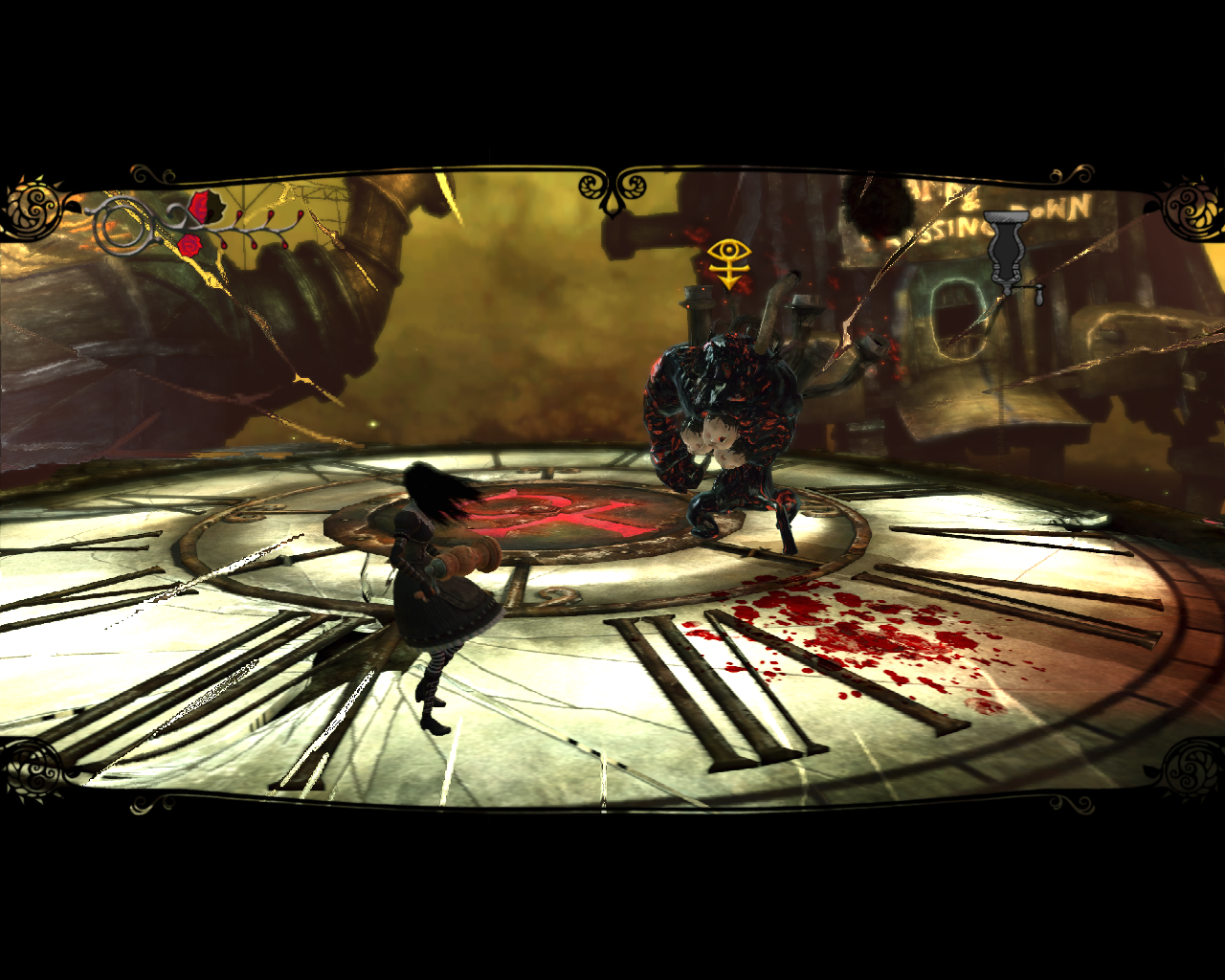Alice: Madness Returns Windows A fight with Menacing Ruin. Note Alice's near-death condition