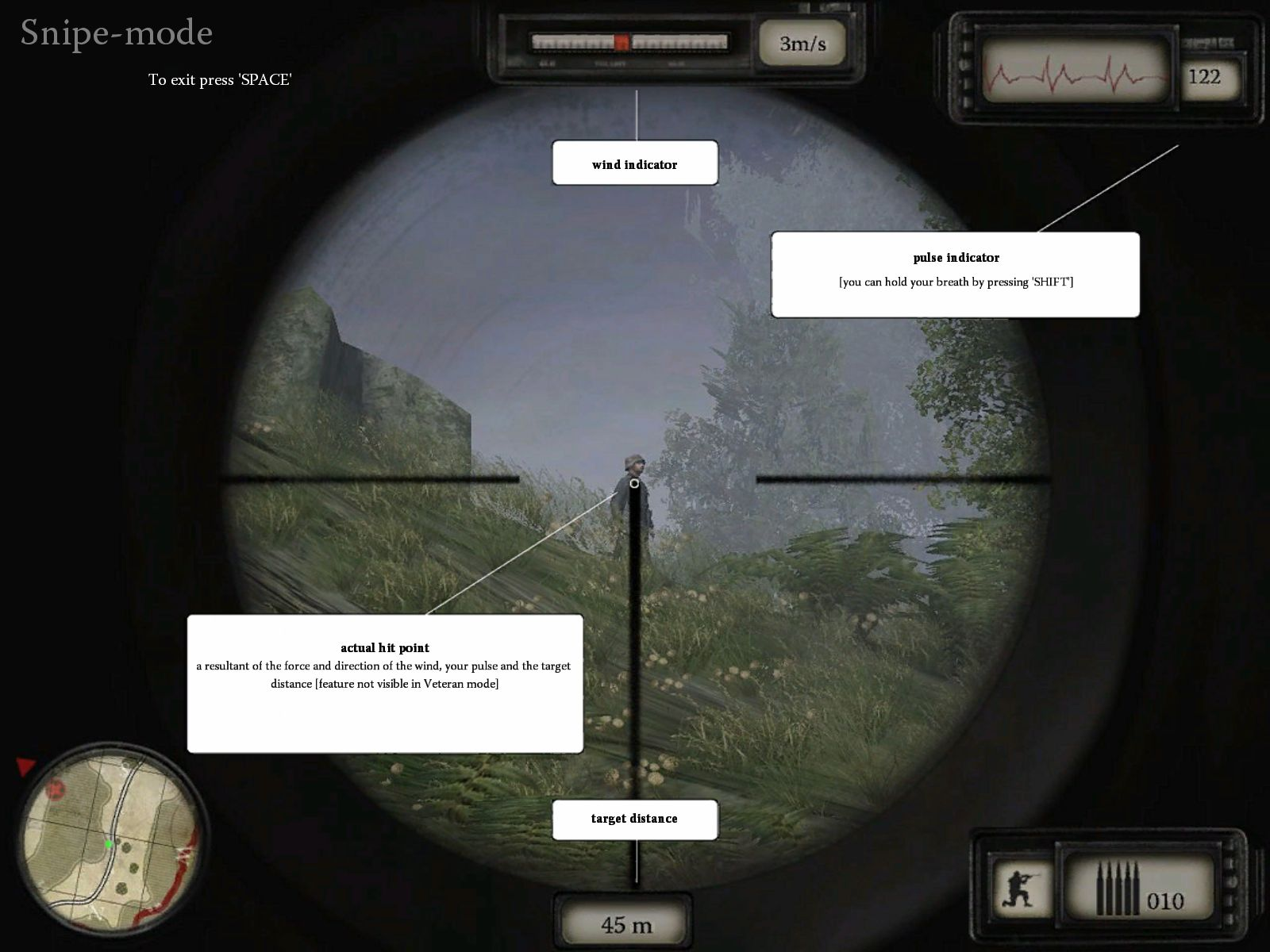 Sniper: Art of Victory Windows The sniper tutorial screen. This is shown when the first enemy is spotted and is the last tutorial
