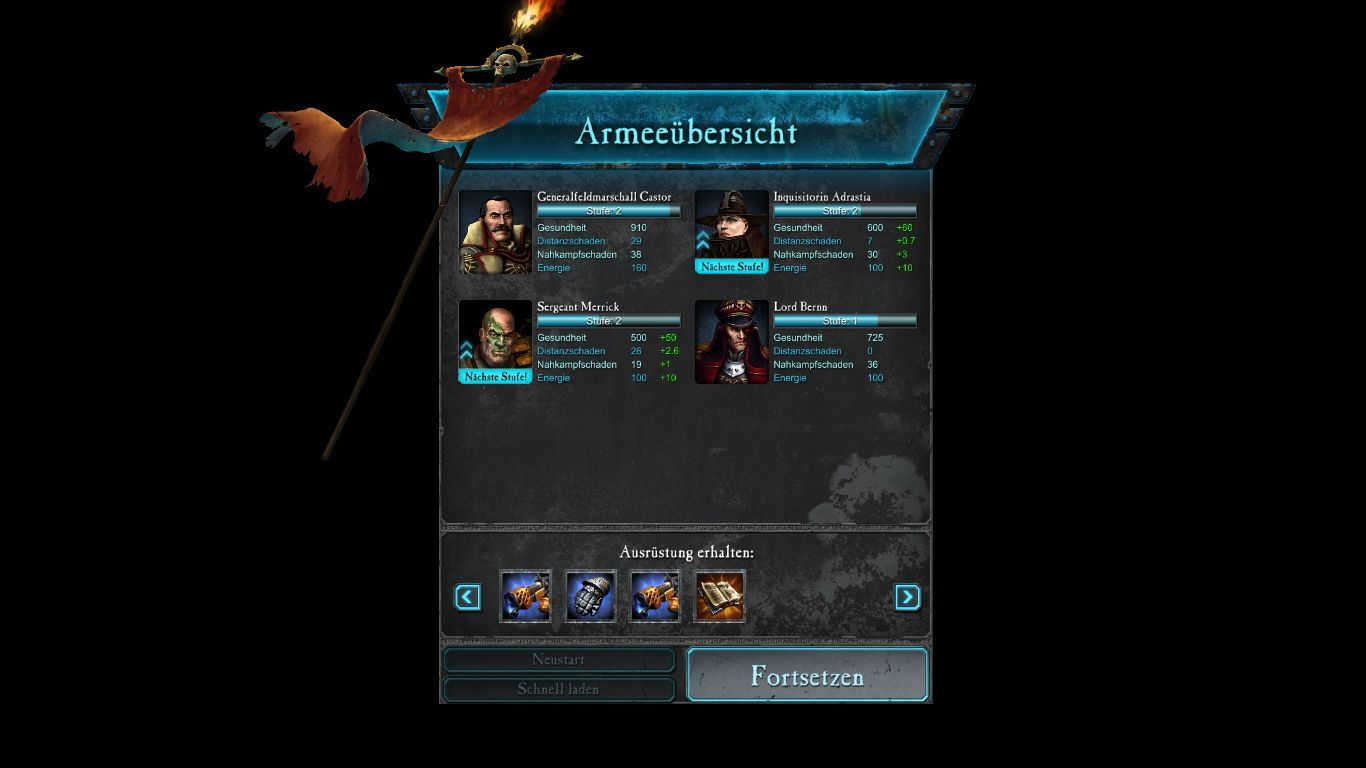 Warhammer 40,000: Dawn of War II - Retribution Windows Mission end screen with new stats for the heroes and the loot.