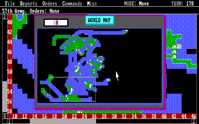 Empire: Wargame of the Century DOS World map.
