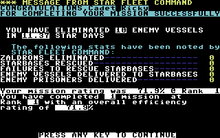 Star Fleet I: The War Begins! Commodore 64 Completed a mission.