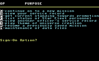 Star Fleet I: The War Begins! Commodore 64 Signing in options.