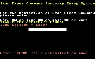 Star Fleet I: The War Begins! Commodore 64 The Lame-O Copy Protection.